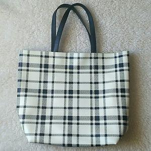 Handbags - Large Plaid White Black Handbag Tote Bag